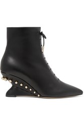 Salvatore Ferragamo Blevio Studded Leather Wedge Ankle Boots Black