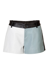 Each Other Leather Colorblock Shorts In Blue White Navy