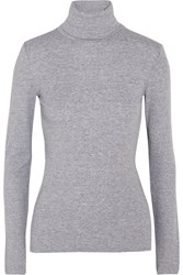 Splendid Supima Cotton And Modal Blend Jersey Turtleneck Top Light Gray