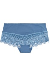 Cosabella Edith Mid Rise Guipure Lace Trimmed Stretch Jersey Briefs Blue