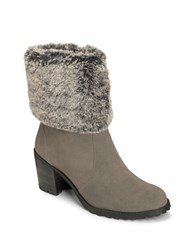 Aerosoles Incognito Suede Faux Fur Cuff Ankle Boots Grey
