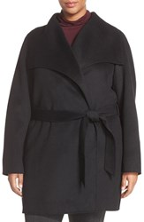 T Tahari Plus Size Women's 'Ella' Wrap Coat Black