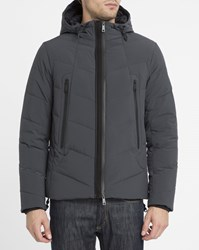 Armani Jeans Navy Double Zip Hooded Down Jacket Blue