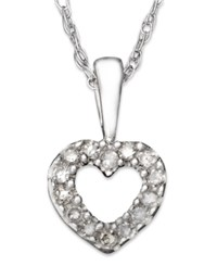 Macy's Children's 14K White Gold Pendant Diamond Accent Heart