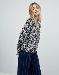 Monki Love Sweatshirt Black And White