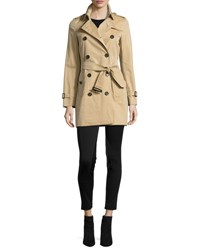 Burberry The Kensington Mid Length Heritage Trench Coat Honey