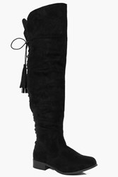 Boohoo Flat Lace Back Tassel Long Leg Boot Black
