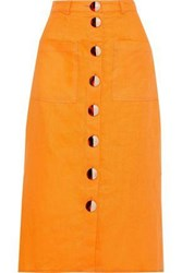 Nicholas Woman Button Detailed Linen Midi Skirt Saffron