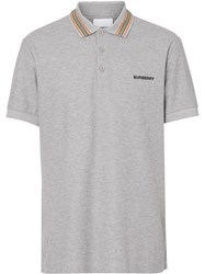 Burberry Icon Stripe Detail Polo Shirt Grey