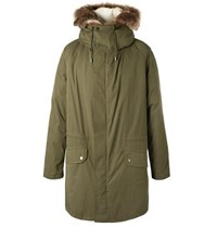 Yves Salomon Faux Fur Trimmed Cotton Blend Hooded Down Parka With Detachable Shearling Lining Green