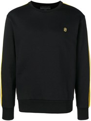 Stella Mccartney Striped Sleeve Crew Neck Sweatshirt Black
