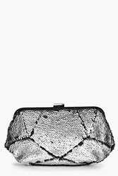 Boohoo Two Way Sequin Box Clutch Bag Silver