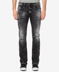Buffalo David Bitton Men's Evan X Slim Straight Fit Destroyed Jeans Veined And Sanded