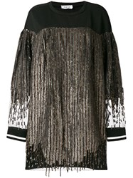 Aviu Sequin Jumper Dress Cotton Polyamide Polyester Viscose Black