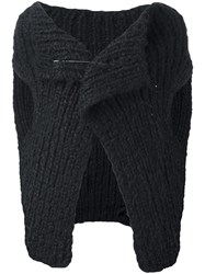Ann Demeulemeester Chunky Knit Sleeveless Wrap Cardigan Black