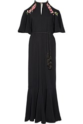 Rachel Zoe Lyon Embellished Stretch Crepe Gown Black
