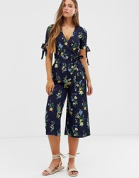 Qed London Floral Wrap Front Jumpsuit With Tie Sleeve Detail Navy