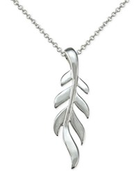 Macy's Stylized Leaf Pendant Necklace In Sterling Silver