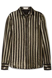 Saint Laurent Striped Metallic Silk Blend Chiffon Shirt Black
