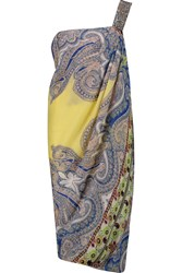 Etro One Shoulder Printed Silk Crepe Dress Yellow