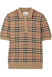 Burberry Checked Merino Wool Sweater Beige
