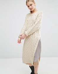 J.O.A Assymetric Cable Knit Jumper Cream