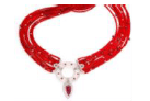 Fabio Salini Necklace Classica With Pear Drop Ruby Diamonds Rubies Rock Crystal White Gold And Silk Red