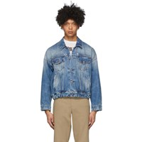R 13 R13 Blue Denim Oversized Cinch Waist Trucker Jacket