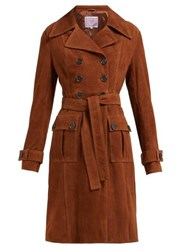 Alexachung Belted Double Breasted Suede Coat Brown