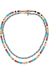 Roxanne Assoulin Cinque Terre Set Of Two Enamel And Gold Tone Necklaces Yellow