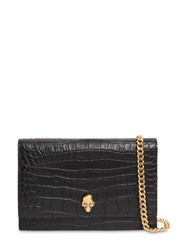 Alexander Mcqueen Small Skull Croc Embossed Leather Bag Black