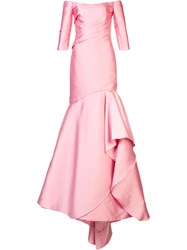 Monique Lhuillier Mermaid Gown Women Silk 6 Pink Purple