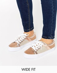 Asos Dani Wide Fit Mesh Trainers Nude Metallic Beige