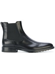 Tod's Classic Chelsea Boots Leather Rubber Black