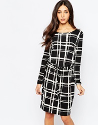 Soaked In Luxury Check Shift Dress Black