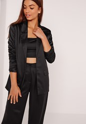 Missguided Satin Blazer Black Black