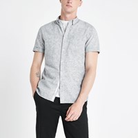 River Island Grey Textured Slim Fit Shirt