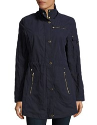 Laundry By Shelli Segal Hooded Anorak Coat Navy
