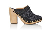 Ulla Johnson Women's Embroidered Leather Clogs Black