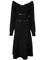 Prabal Gurung Scoop Neck Convertible Knitted Dress Black