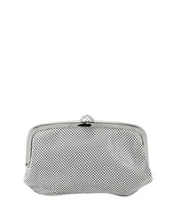 La Regale Mesh Pouch Bag With Snap Closure Silver