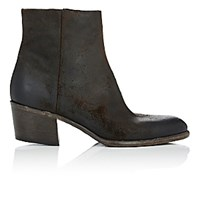 Barneys New York Women's Side Zip Ankle Boots Dark Brown