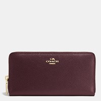 Coach Accordion Zip Wallet In Pebble Leather Light Gold Oxblood