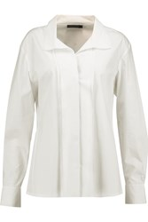 Donna Karan Layered Stretch Cotton Poplin Shirt White
