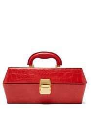 Staud Lincoln Crocodile Effect Leather Box Bag Red
