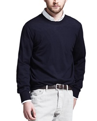 Brunello Cucinelli Fine Gauge Knit Elbow Patch Sweater Navy Navy 52
