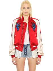 Unravel Embroidered Silk Satin Bomber Jacket