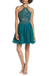 Blondie Nites Halter Neck Applique Mesh Party Dress Emerald