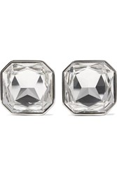 Saint Laurent Smoking Silver Tone Crystal Clip Earrings One Size