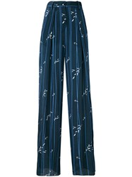 Emporio Armani Striped Palazzo Pants Women Silk Viscose 44 Blue